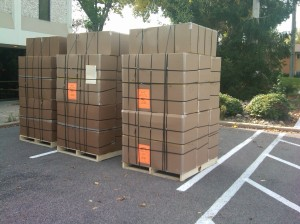 Three of four pallets loaded to ship