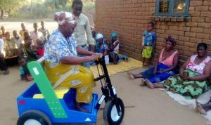 Migress Kampaundi on her new PET cart